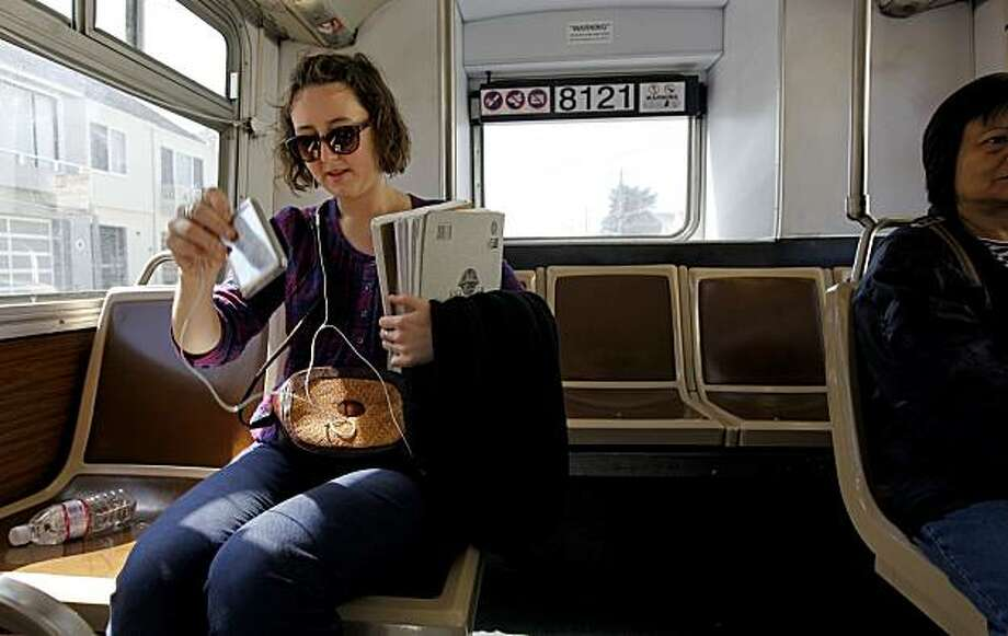 Hannah Stewart of San Francisco, on Wednesday May, 12, 2010, riding on the 18 46th Avenue bus line uses MUNI for work and going to school, in San Francisco, Calif. How the $5 million of cuts to MUNI service feels like to the average rider. Photo: Michael Macor, The Chronicle