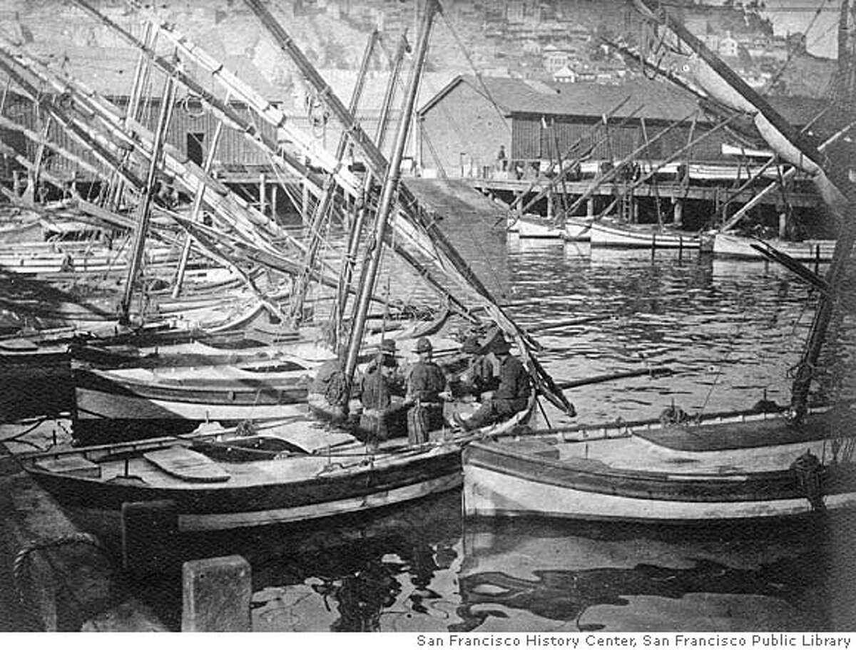 QUAKE_prequake_01.jpg c. 1905 Fisherman's Wharf pre-1906 earthquake. San Francisco was a hustling/bustling city just prior to the 1906 Earthquake as shown in these prequake photos. courtesy of San Francisco History Center, San Francisco Public Library/ Photo By T. E. Hecht