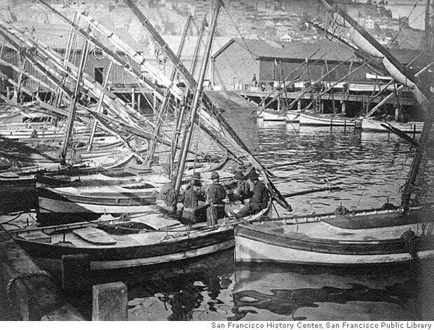QUAKE_prequake_01.jpg c. 1905 Fisherman's Wharf pre-1906 earthquake. San Francisco was a hustling/bustling city just prior to the 1906 Earthquake as shown in these prequake photos. courtesy of San Francisco History Center, San Francisco Public Library/ Photo By T. E. Hecht Photo: Photo By T. E. Hecht