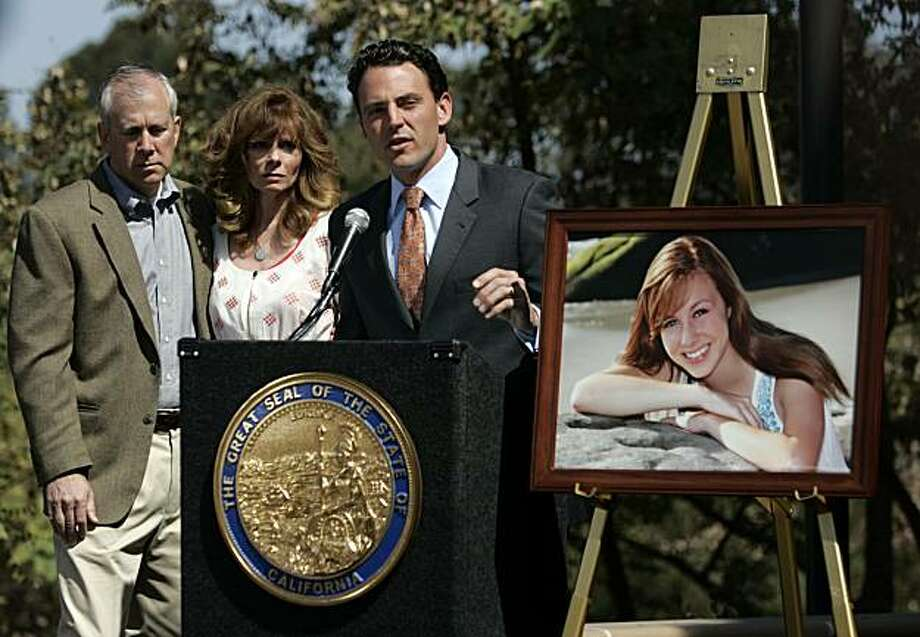 Brent and Kelly King, the parents of Chelsea King stand with Assemblyman Nathan Fletcher, right, during a press conference Tuesday March 23, 2010 in San Diego, calling for parole reform and a one strike rule for violent sexual offenders. Photo: David Brooks, AP