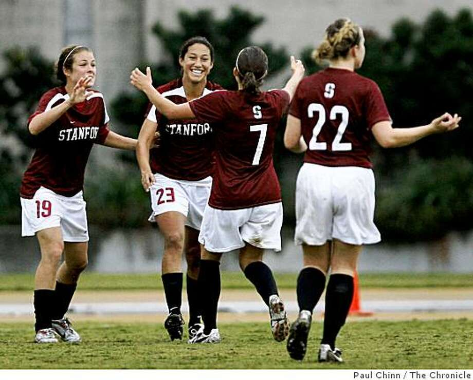 Stanford Cardinal players celebrate a goal by Christen Press (23) in the second half of a soccer game against the Cal Bears at Edwards Stadium in Berkeley, Calif., on Saturday, Nov. 8, 2008. Photo: Paul Chinn, The Chronicle