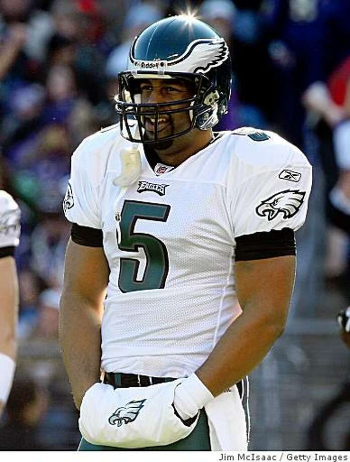 BALTIMORE - NOVEMBER 23: Donovan McNabb #5 of the Philadelphia Eagles looks on during the game against the Baltimore Ravens on November 23, 2008 at M&T Bank Stadium in Baltimore, Maryland. (Photo by Jim McIsaac/Getty Images) Photo: Jim McIsaac, Getty Images