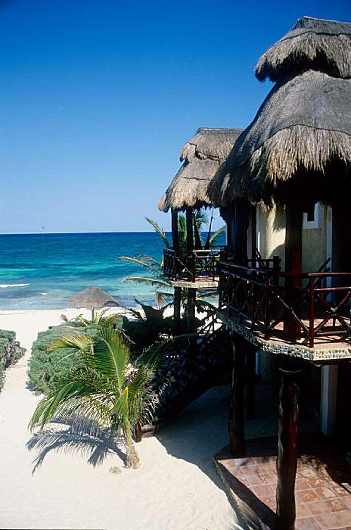 Beaches of the Riviera Maya, on the pristine Caribbean coast of Mexico's Yucatan peninsula.