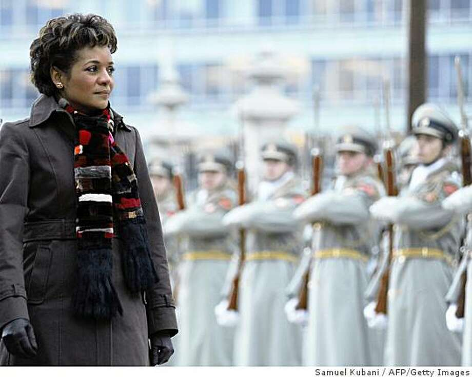 Canadian Governor-General Michaelle Jean inspects an honour guard with Slovak President Ivan Gasparovic (not pictured) in front of the presidental palace in Bratslava on November 26, 2008 during a welcoming ceremony before their official talks. Jean is on a three-day official visit to Slovakia. AFP PHOTO/Samuel Kubani (Photo credit should read SAMUEL KUBANI/AFP/Getty Images) Photo: Samuel Kubani, AFP/Getty Images