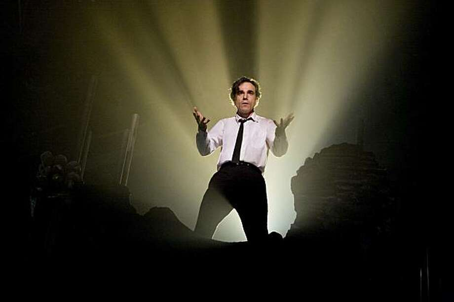 """Daniel Day-Lewis in """"Nine."""" Guido (Daniel Day-Lewis) agonizes over starting his new film in a scene from Rob Marshall's NINE, """"Guido's Song"""" (Musical Number). Photo: David James, Weinstein Co."""