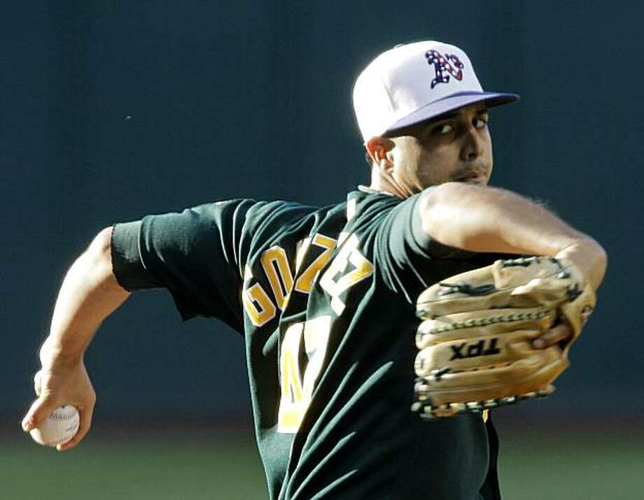 Oakland Athletics' Gio Gonzalez pitches against the Cleveland Indians in the first inning of a baseball game Friday, July 2, 2010, in Cleveland. Photo: Mark Duncan, AP