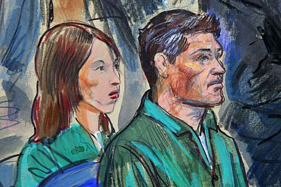 This artist rendering shows Patricia Mills, left, and Michael Zottoli, northern Va. residents accused of being illegal spies for Russia, in federal court in Alexandria, Va., Friday, July 2, 2010. Photo: Dana Verkouteren, AP