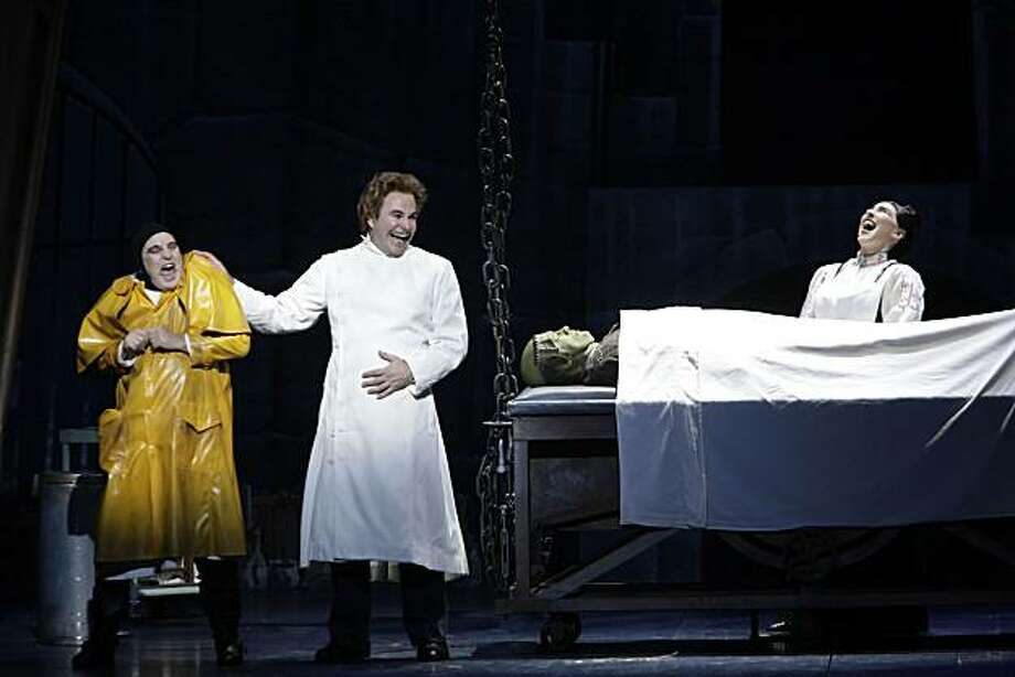 """Cory English as Igor (l to r), Roger Bart as Frederick Frankenstein,  Shuler Hensley as The Monster  and Joanna Glushak as Frau Blucher perform in """"Young Frankenstein"""" at the Golden Gate Theatre in San Francisco, Calif. on Wednesday June 30, 2010. Photo: Lea Suzuki, The Chronicle"""