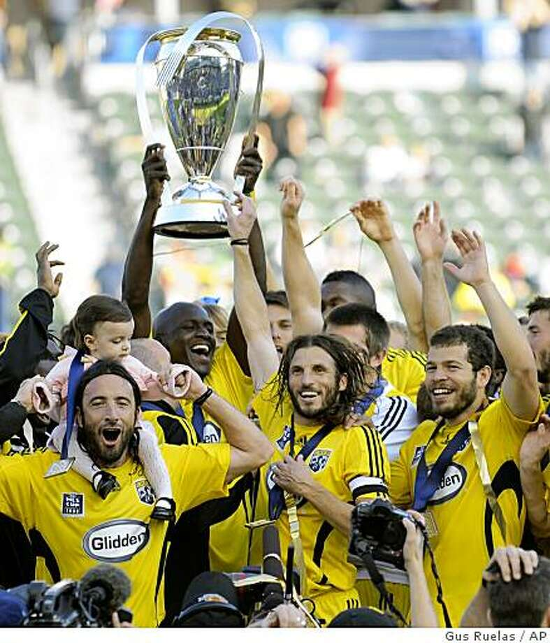 The Columbus Crew celebrate its 3-1 victory over the New York Red Bulls in the MLS Cup final, Sunday, Nov. 23, 2008 in Carson, Calif. Photo: Gus Ruelas, AP
