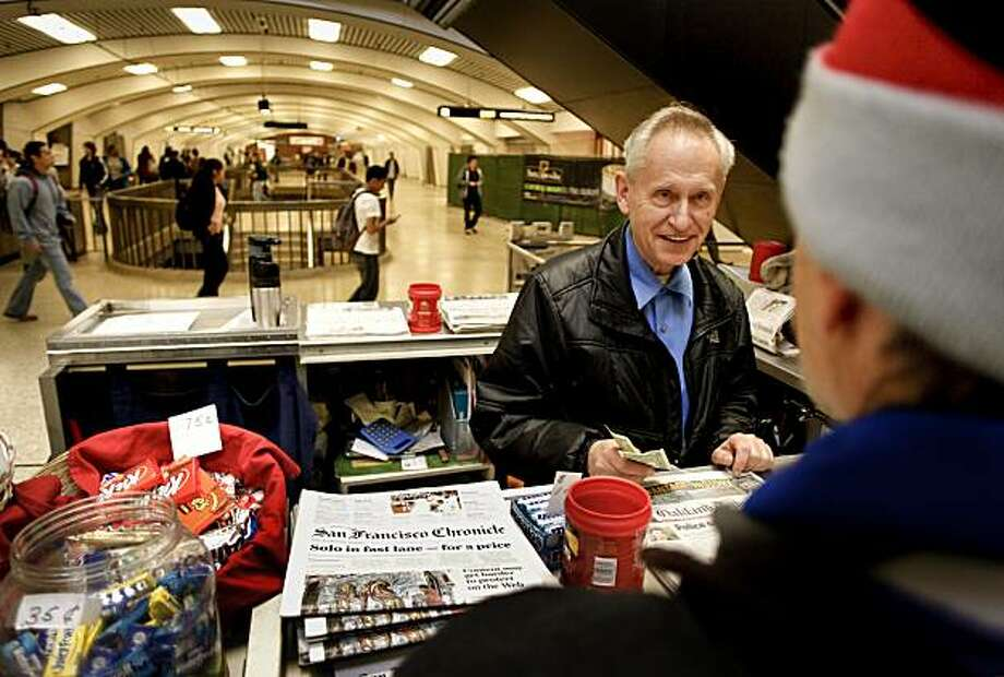 News vendor, John Allen, in Berkeley, Ca. on Thursday June 24, 2010, has been selling newspapers from his kiosk at the Berkeley BART station for the past 5 years. Allen part of a vanishing breed starts his 7 day-a-week job at 4am selling newspapers to commuters who travel through the Berkeley BART station. Photo: Michael Macor, The Chronicle