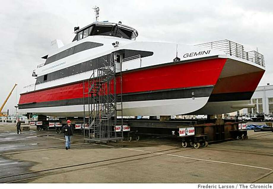 A brand new ferry named Gemeni built for the San Francisco Oakland-Alameda run arrived on November 25, 2008 at a Alameda dry dock. Photo: Frederic Larson, The Chronicle