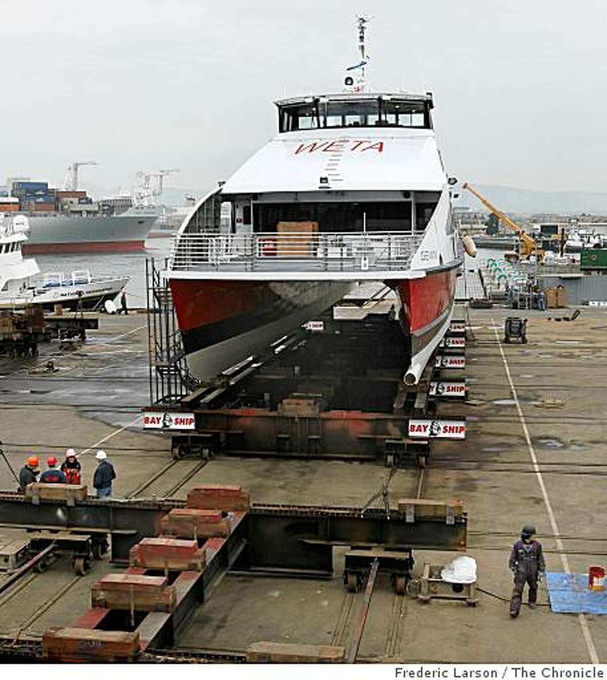 A brand new ferry named Gemeni built for the San Francisco Oakland-Alameda run arrived on November 25, 2008 at a Alameda dry dock.