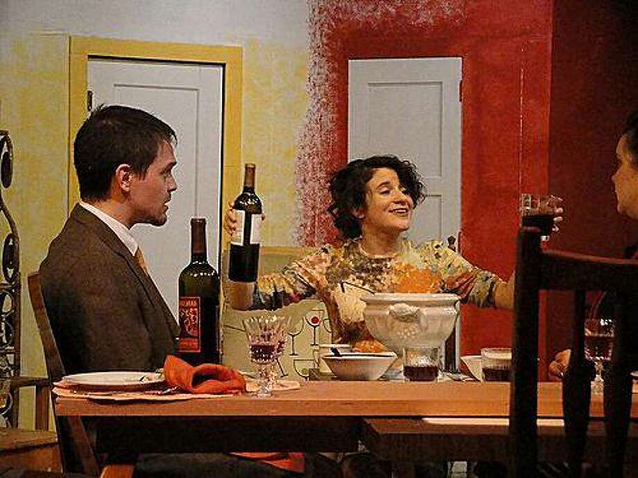 "William Featherstone (Adam Simpson), Teresa Phillips (Corinne Proctor) and Mary Featherstone (Jocelyn Stringer) at a dinner party in Off Broadway West's staging of ""How the Other Half Loves"" Photo: Barbara Michelson-Harder"