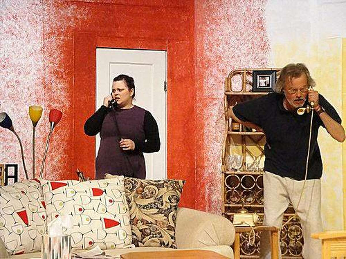 Mary Featherstone (Jocelyn Stringer) and Frank Foster (Jeff Garrett) talk from their separate living rooms about a spouse's suspected affair in Off Broadway West's staging of