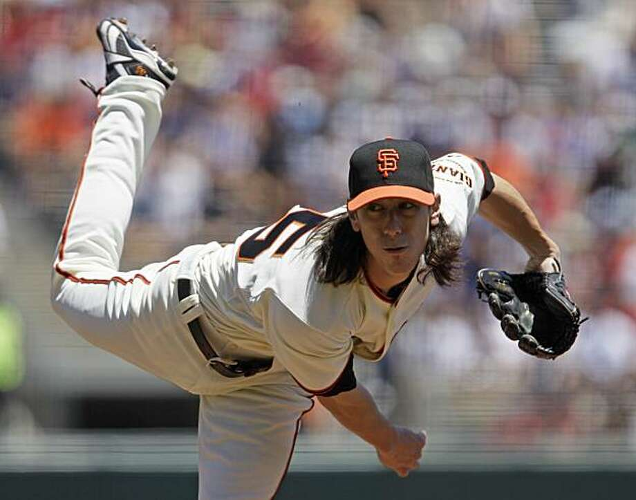 San Francisco Giants starting pitcher Tim Lincecum works against the Boston Red Sox in the first inning of their game in San Francisco, Sunday, June 27, 2010. Lincecum, the two-time reigning NL Cy Young Award winner, was done after a season-low three innings having already thrown 79 pitches. He had a three-start winning streak snapped. Photo: Eric Risberg, AP