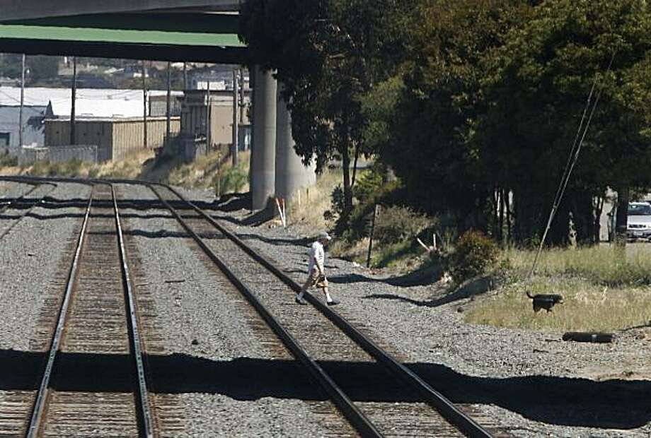 In this file photo a man walks his dog across train tracks in Albany, Calif.. An Amtrak's Capitol Corridor train traveling from Sacramento to San Jose hit a trespasser on the tracks Monday afternoon. Photo: Paul Chinn, The Chronicle