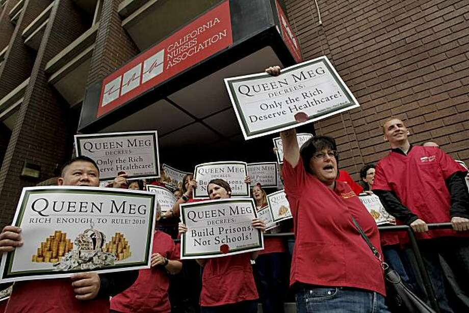 Katy Roemer (right) joins a rally outside the  California Nurses Association expressing their outrage in Oakland, Ca. on Friday June 25, 2010, over what the organization says is an attack campaign being run against them by Gubernatorial candidate Meg Whitman. Photo: Michael Macor, The Chronicle