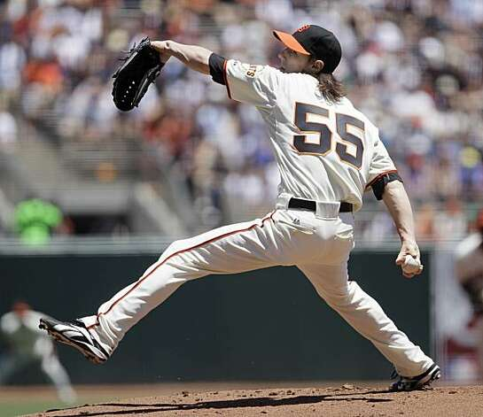 San Francisco Giants starting pitcher Tim Lincecum works against the Boston Red Sox in the first inning of their  interleague baseball game in San Francisco, Sunday, June 27, 2010. Photo: Eric Risberg, AP