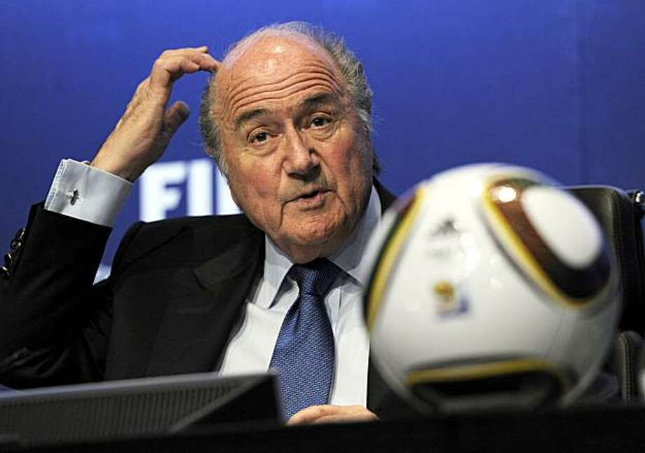 FILE - The April 23, 2010 file photo shows FIFA President Joseph Blatter answering journalist's questions during a press conference on the 2010 Soccer World Cup in South Africa at the FIFA headquarters in Zurich, Switzerland. With pressure for video replay mounting after two blatant missed calls at the World Cup, FIFA president Sepp Blatter said Tuesday, June 29, 2010 soccer's governing body will reopen the issue after the tournament. The referee at England's second-round match with Germany on Sunday missed a clear English goal that would have tied the score 2-2. Germany went on to win 4-1. Photo: Steffen Schmidt, AP