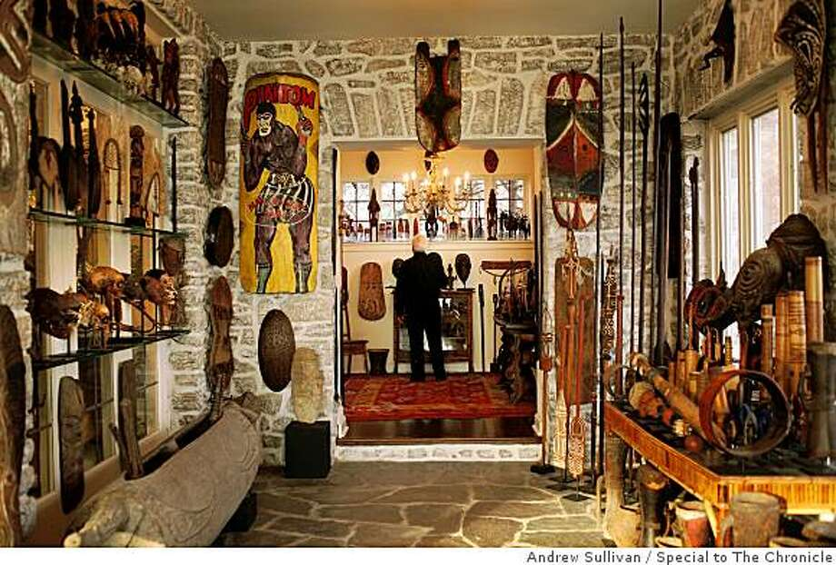 John Friede, a preeminent collector of Oceanic art, has items from Papua New Guinea decorating nearly every wall in his Rye, N.Y. home. Photo: Andrew Sullivan, Special To The Chronicle
