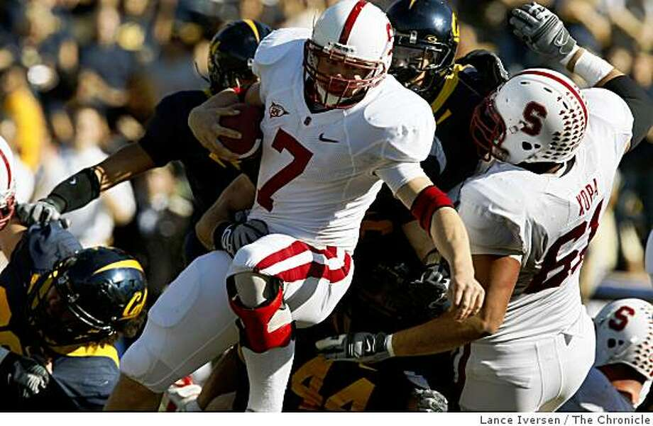 Stanford running back Toby Gerhart is gang tackled by California in second quarter action as California defeats Stanford 37-16 in the annual Big Game in Berkeley, Calif., on Saturday, Nov. 22, 2008. Photo: Lance Iversen, The Chronicle