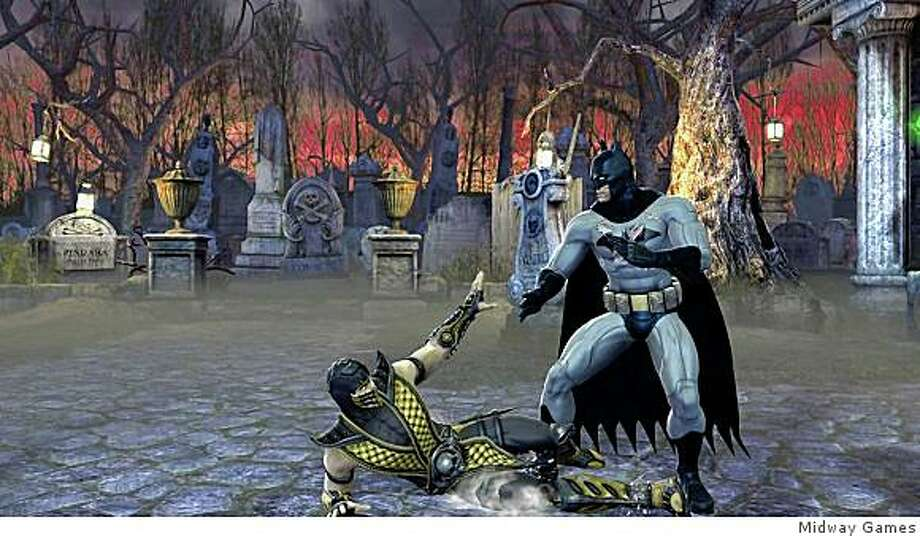 Batman goes in for the kill in Mortal Kombat vs DC Universe, the latest Mortal Kombat game. Photo: Midway Games