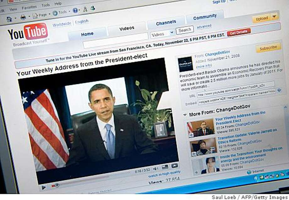 A YouTube video of US President-elect Barack Obama's weekly radio address is seen on a computer screen in Chicago on November 22, 2008.        AFP PHOTO/Saul LOEB (Photo credit should read SAUL LOEB/AFP/Getty Images) Photo: Saul Loeb, AFP/Getty Images