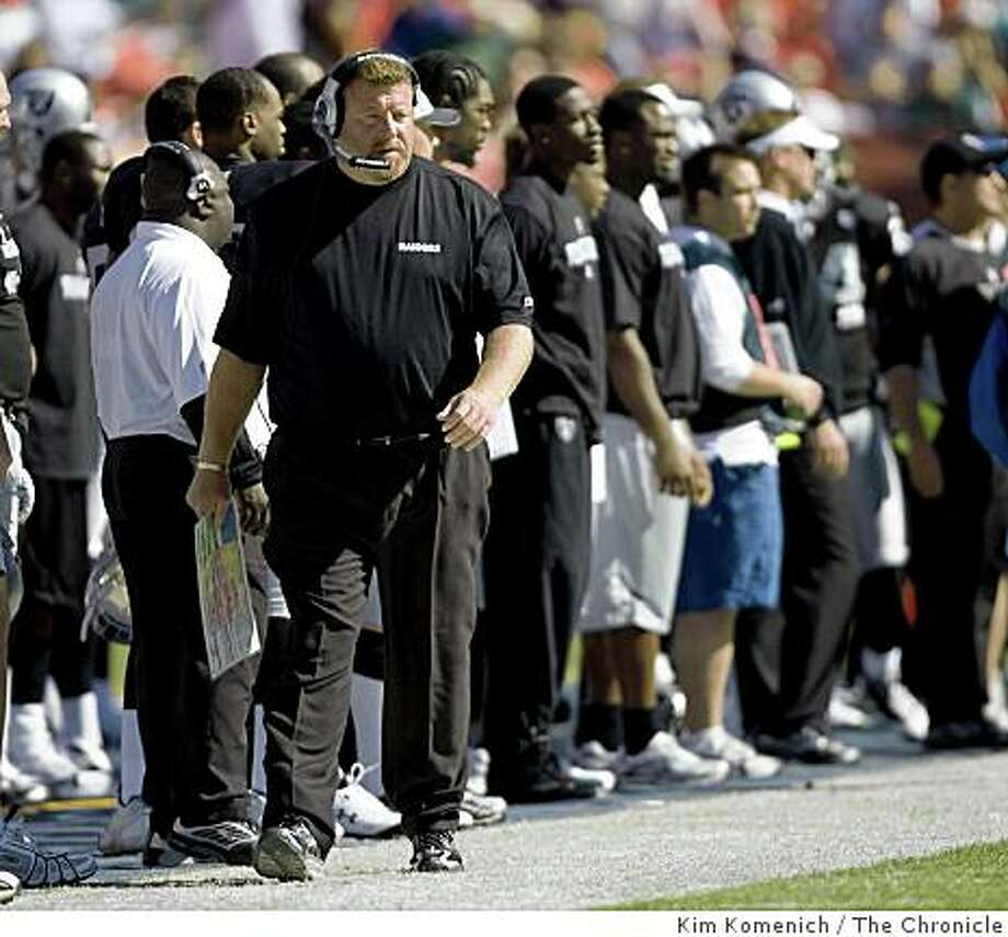 Raiders Head Coach Tom Cable paces the sidelines as the Miami Dolphins beat the Oakland Raiders 15-17 at Dolphins Stadium in Miami, Fla., on Sunday, Nov. 16, 2008 Photo: Kim Komenich, The Chronicle