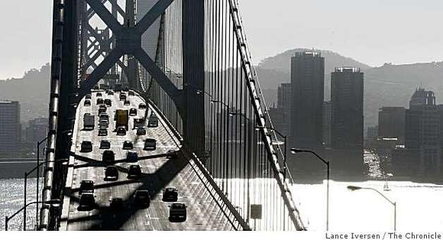 Motorist driving West across the Bay Bridge into San Francisco could be facing new fees if a proposal is approved to charge people who drive certain routes at certain times is passed. November 21, 2008 Photo: Lance Iversen, The Chronicle