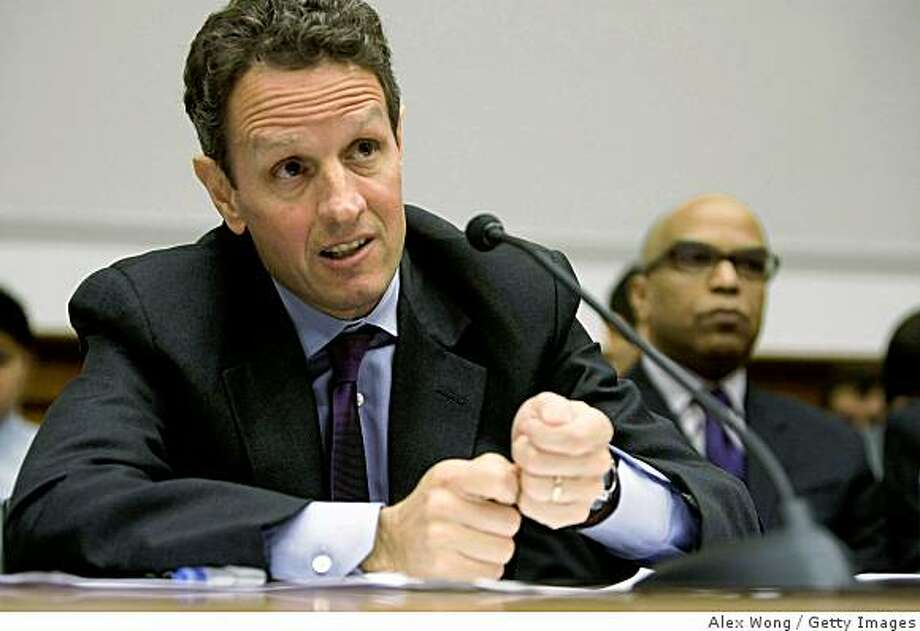 WASHINGTON - JULY 24:  (FILE PHOTO) New York Federal Reserve President Timothy Geithner speaks during a hearing before the House Financial Services Committee on Capitol Hill July 24, 2008 in Washington, DC. Geithner is reportedly to be nominated as Treasury Secretary by President-elect Barack Obama.  (Photo by Alex Wong/Getty Images) Photo: Alex Wong, Getty Images