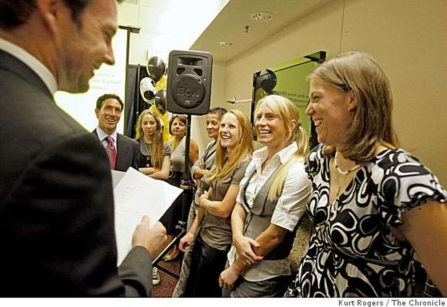 Before the press conference at Santa Clara University Joe Cannon The San Jose Earthquakes Goal Keeper meat with the FC Gold Pride new coach Albertin Montoya team owners Amanda Nesmith daughter of Nancy Nesmith assistant Coach Sissi and three of the teams new players Nicole Barnhart, Tracy Hamm and Rachel Buchler. on Wednesday Nov 19  2008 in Santa Clara, Calif Photo: Kurt Rogers, The Chronicle