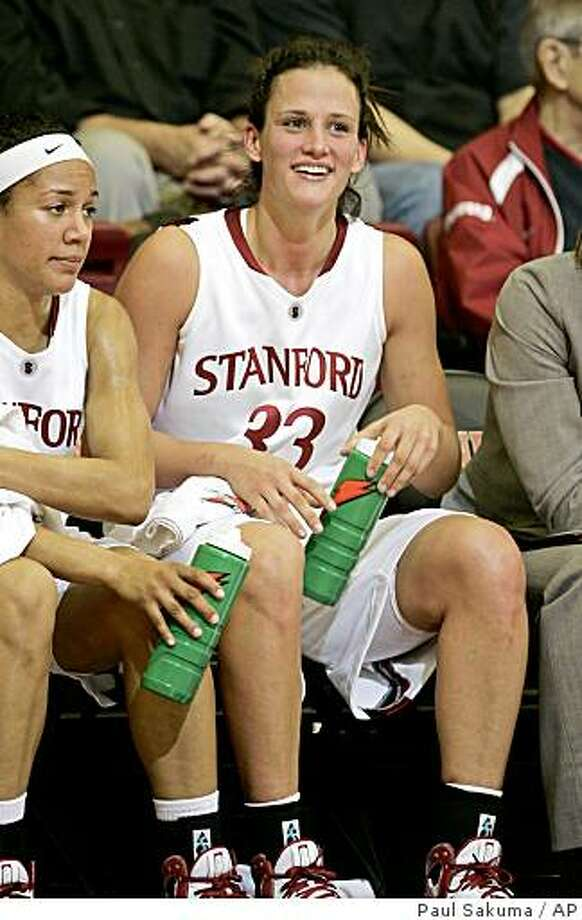 Stanford forward Jillian Harmon (33) smiles on the bench in the second half against New Mexico at Stanford, Calif., Thursday, Nov. 20, 2008. Photo: Paul Sakuma, AP