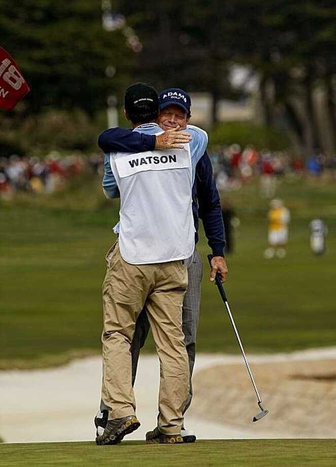Tom Watson, hugs his son Michael who was his caddy, as he finishes play on 18th hole for what may be the last U.S. Open he might play, during the final round of the 2010 U.S. Open Golf Championship at Pebble Beach, Ca. on Sunday June 20, 2010. Photo: Michael Macor, The Chronicle