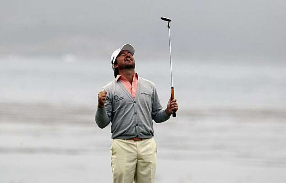 Graeme McDowell breaks down with joy after two-putting the 18th green for the 110th U.S. Open victory Sunday at Pebble Beach. Photo: Lance Iversen, The Chronicle