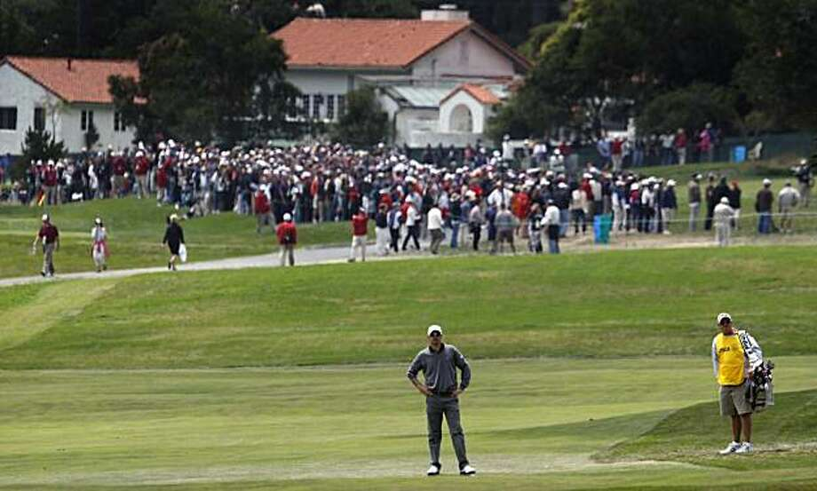 Grregory Havret of France stands in the middle of the second fairway waiting his turn to hit during final rounds of the 110th U.S. Open victory Sunday at Pebble Beach. Photo: Lance Iversen, The Chronicle