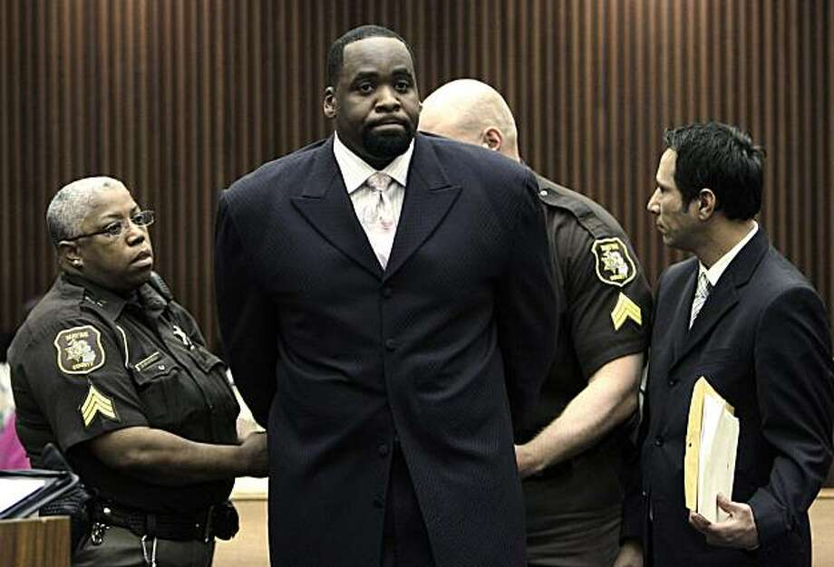 FILE -In this May 25, 2010 file photo, former Detroit Mayor Kwame Kilpatrick is handcuffed after Judge David Groner sentenced him to one-and-a-half to five years in prison for violating the terms of his probation on an obstruction of justice conviction. Kilpatrick has been indicted on federal fraud and tax charges Wednesday, June 23, 2010. Federal prosecutors say the alleged scheme is related to the Kilpatrick Civic Fund, a tax-exempt fund that was supposed to pay for voter education and other purposes. Instead, Kilpatrick is accused of using it as a slush fund to take cash payments for himself, friends and relatives. An indictment was filed Wednesday. Photo: Paul Sancya, AP