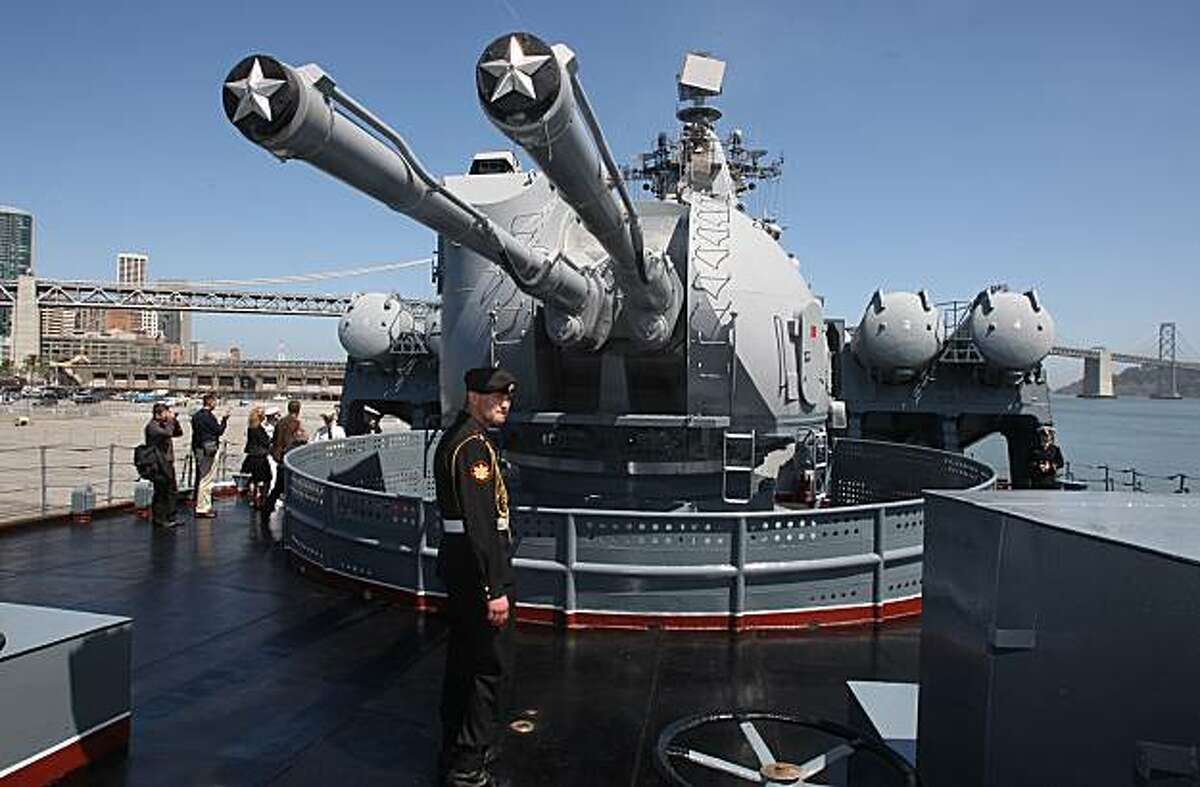 Dual purpose 200mm guns on the Varyag, a Russian guard missile cruiser at Pier 30-32 in San Francisco on Monday.