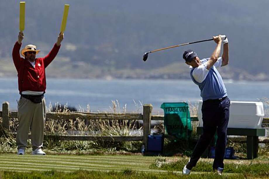 Davis Love III tees off on the 18th during 3rd round action of the 110th US Open golf tournament at Pebble Beach Golf links Saturday June 19, 2010 Photo: Lance Iversen, The Chronicle