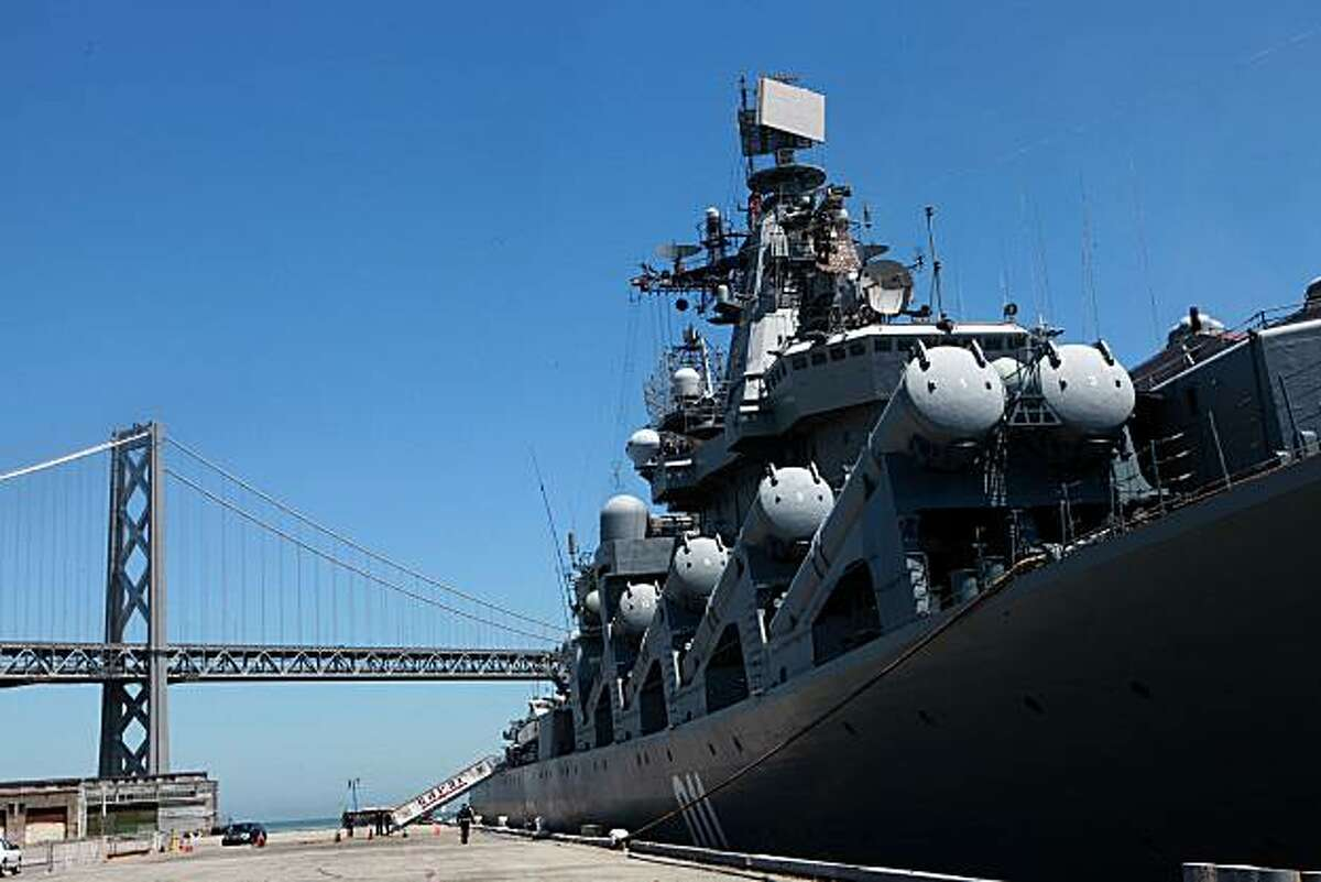 Russian Navy missile cruiser Varyag docked at Pier 30-32 in San Francisco on Monday. The last time a Russian warship came to the S.F. Bay was 1863. On top is equipment including surface-to-surface missiles, anti-submarine rockets and a dual purpose 200mm gun.