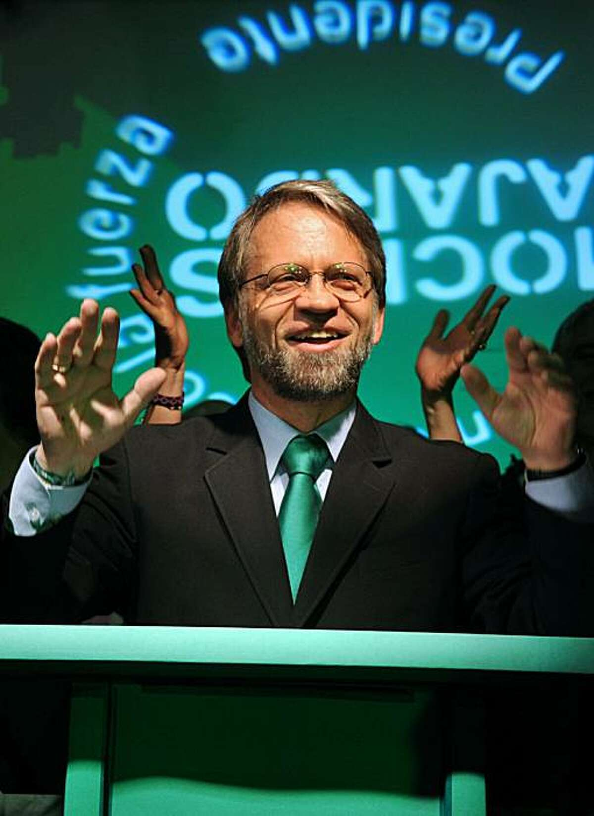 Colombian presidential candidate for the Green Party, Antanas Mockus, gestures after losing the presidential election run-off with Juan Manuel Santos of the ruling National Unity party on June 20, 2010 in Bogota, Colombia. Conservative ex-defense ministerJuan Manuel Santos handily won Colombia's presidential run-off vote Sunday with a whopping 69.2 percent of the vote.