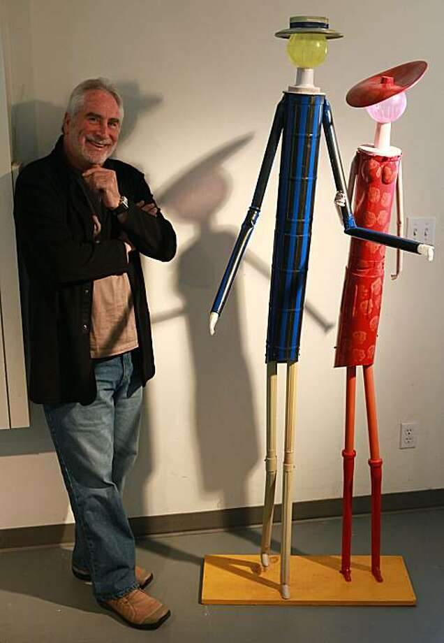Sculptor Jerry Barrish with a recent piece at his studio in San Francisco, California, on Tuesday, June 15, 2010. Photo: Liz Hafalia, The Chronicle