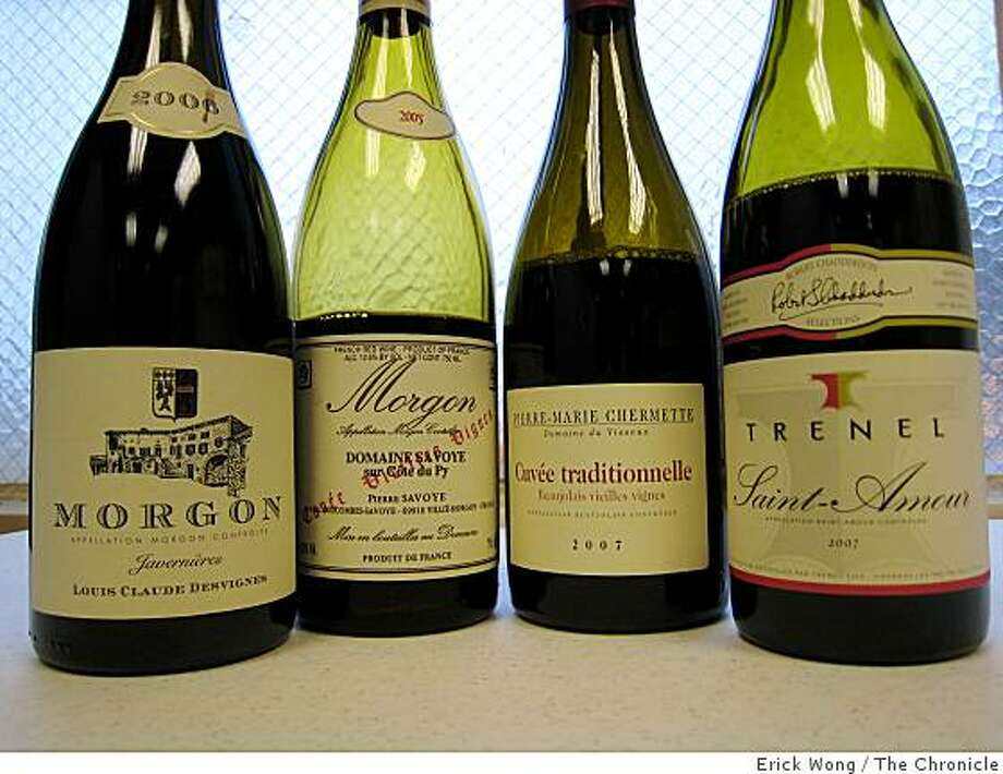 Cru Beaujolais, from left, 2006 Louis Claude Desvignes Cote du Py Javernieres 2005 Pierre Savoye Cote du Py Vieilles Vignes Morgon, Morgon, 2007 Pierre-Marie Chermette Domaine de Vissoux Cuvee Traditionelle Beaujolais, 2007 Trenel Saint-Amour Photo: Erick Wong, The Chronicle