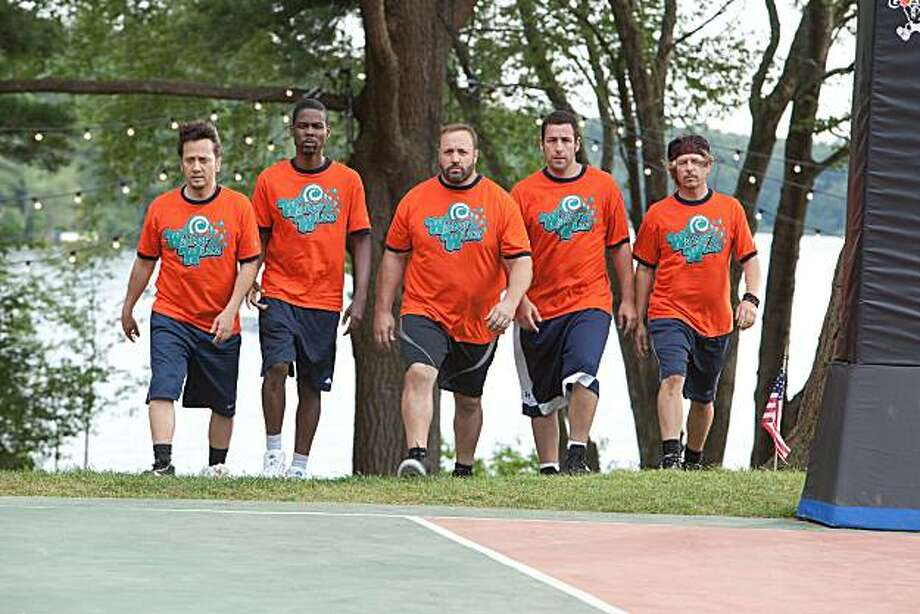 "Rob Schneider, Chris Rock, Kevin James, Adam Sandler and David Spade in ""Grown Ups."" Photo: Tracy Bennett, Columbia Tristar"