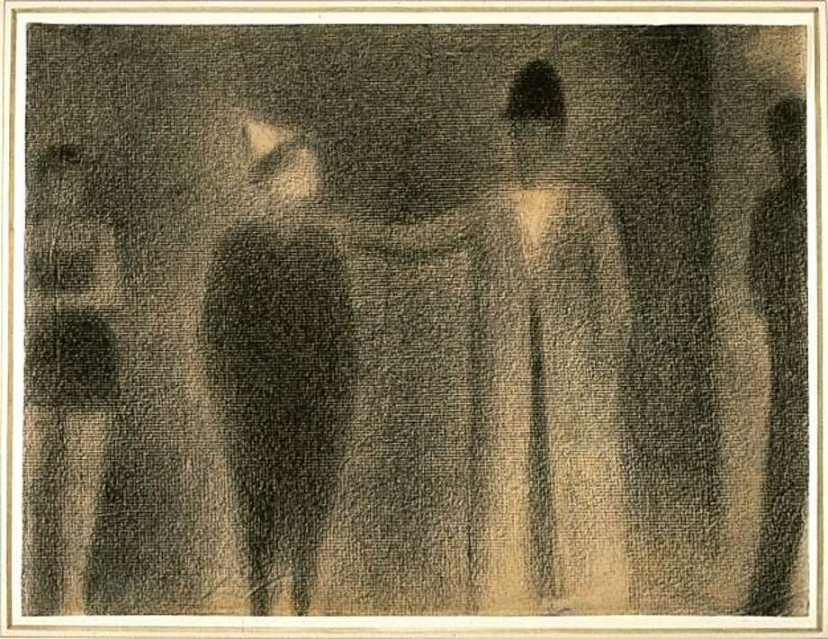 """Study for 'La Parade du Cirque"" (1886-87) conte crayon on paper by Georges Seurat Photo: Courtesy, Fine Arts Museums Of S.F."