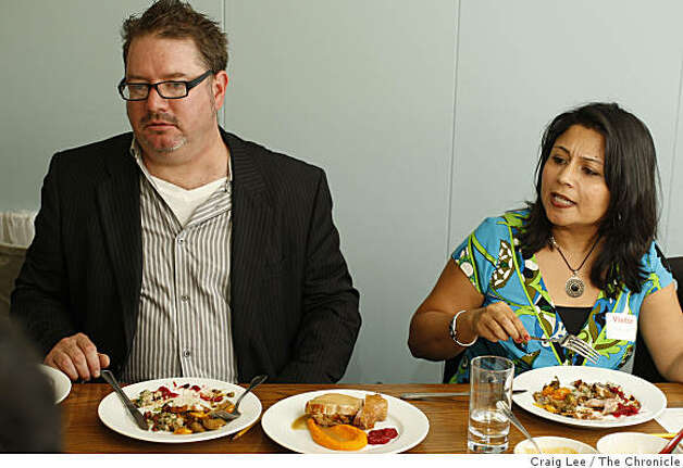 Thanksgiving Iron Chef cookoff between 4-star chefs Michael Mina and Douglas Keane, in San Francisco, Calif., on November 3, 2008. Christopher Kennedy and Satarupa Bhattacharya. Photo: Craig Lee, The Chronicle