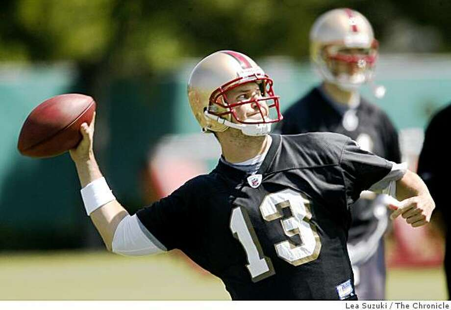 Shaun Hill #13 prepares to make a pass in Santa Clara on Monday, June 2 2008 on the first day of Organized Team Activity.Photo By Lea Suzuki/ The Chronicle Photo: Lea Suzuki, The Chronicle