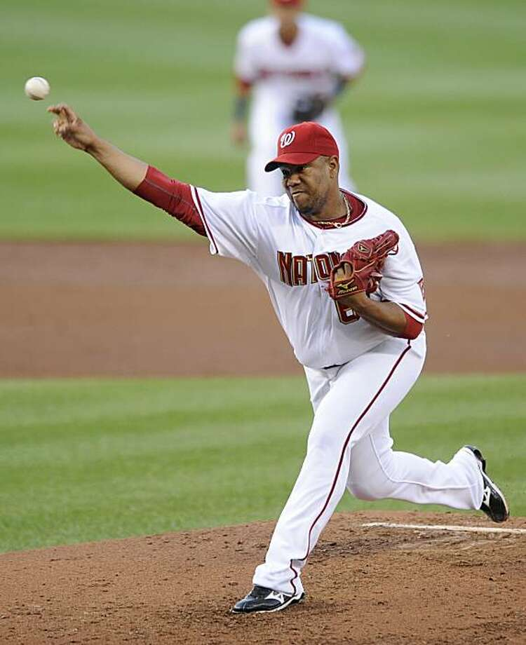 Washington Nationals starting pitcher Livan Hernandez delivers to a Kansas City Royals batter during the third inning of a baseball game, Monday, June 21, 2010, in Washington. Photo: Nick Wass, AP