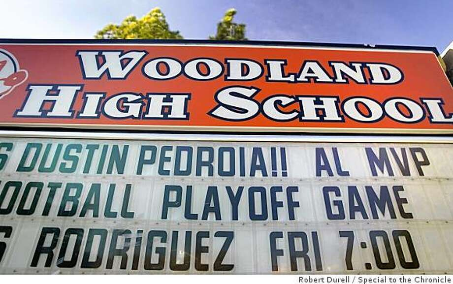 WOODLAND, California-- Dustin Pedroia's high school announces an award for one of its more face alums, Dustin Pedroia, November 21, 2008.  Pedroia, the 2008 American League MVP went to Woodland High School. His family still lives in the town. Photo: Robert Durell, Special To The Chronicle