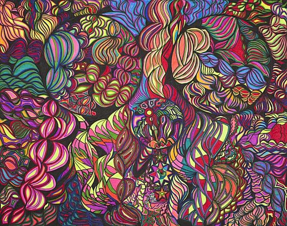 """Dan John Michiels' """"Untitled"""" is part of """"Spectrum,"""" an exhibiton paying homage to San Franciso's heritage of psychedelic art and music of the 1960s, opening June 24. Through Aug. 11 at Creativity Explored, 3245 16th St., San Francisco. (415) 863-2108, www.creativityexplored.org. Reception: 7-9 p.m. June 25 with music and art sale. Photo: Creativity Explored"""