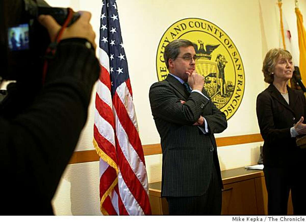 San Francisco City Attorney Dennis Herrera (left) with Santa Clara City councilmember, Ann Ravel hold a press conference in Herrera's office at San Francisco City Hall after the California Supreme Court agreed to look at legal challenges to Proposition 8.